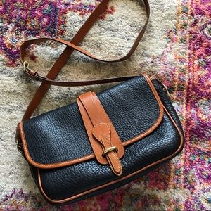Vintage Dooney Black Pebble Tan Leather Crossbody